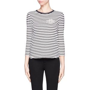 J. Crew navy striped painter tee jeweled brooch